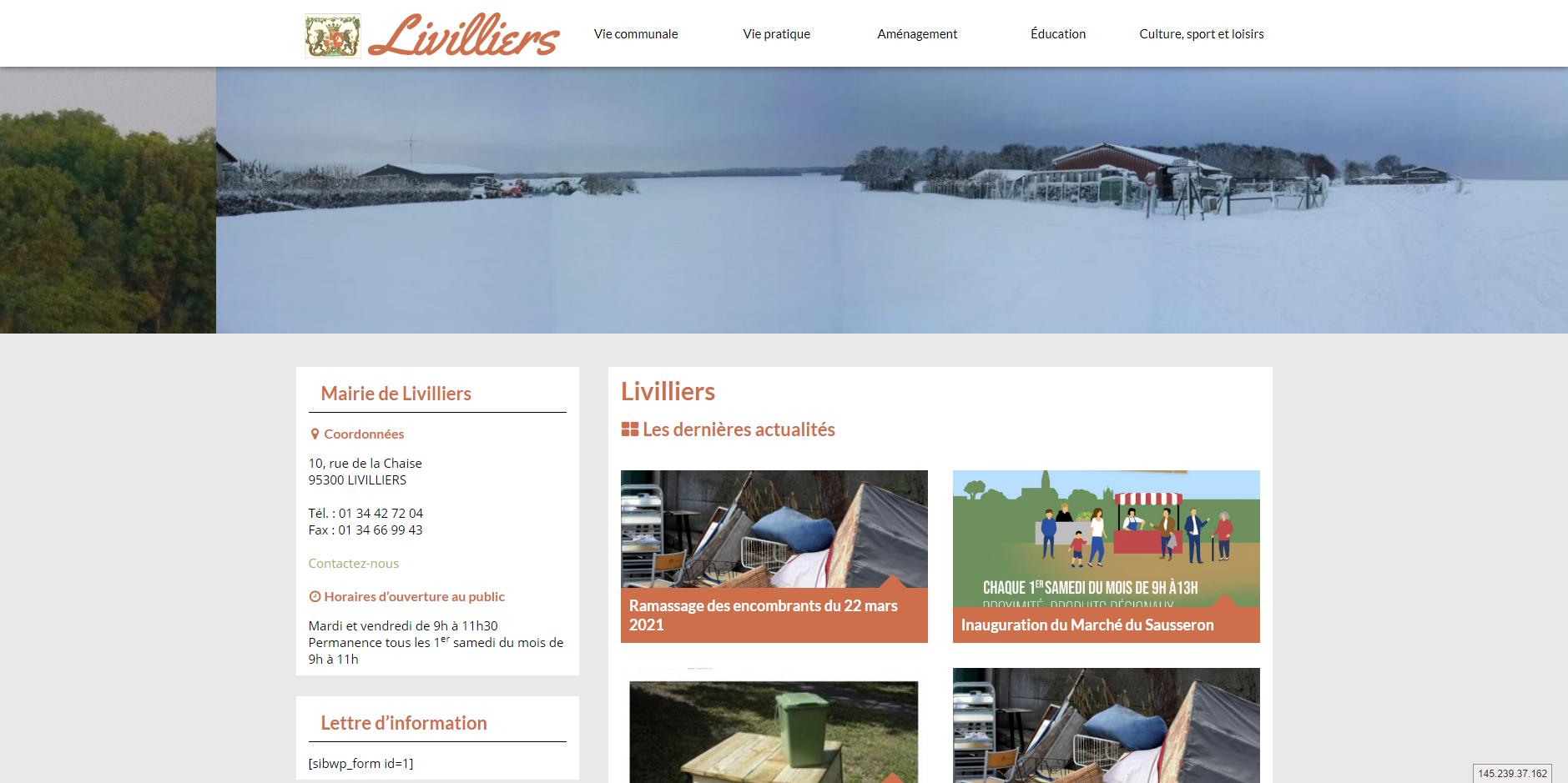 conception du site de Livilliers par l'union des maires du Val-d'Oise