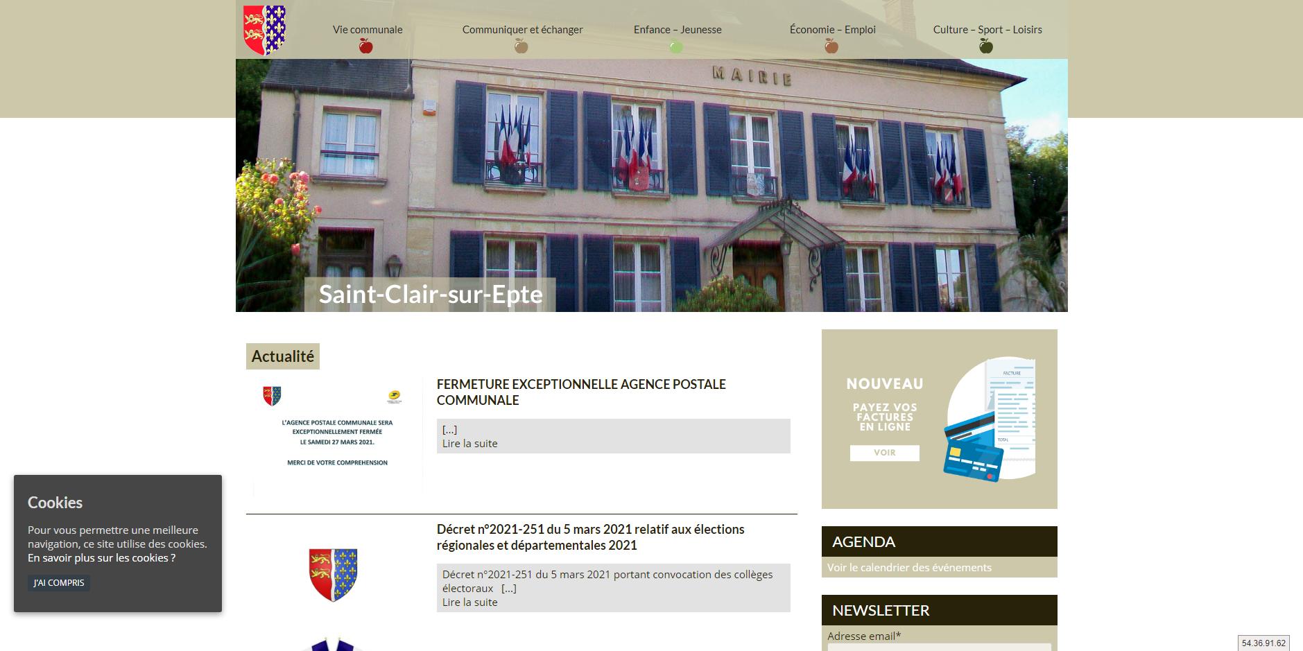 conception du site de Saint-Clair-sur-Epte par l'union des maires du Val-d'Oise