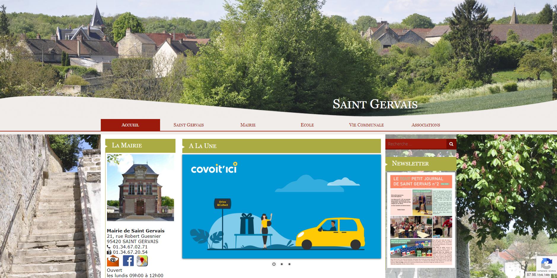 conception du site de Saint Gervais par l'union des maires du Val-d'Oise