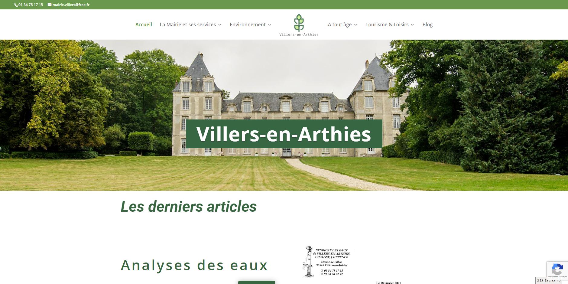 conception du site de Villers-en-Arthies par l'union des maires du Val-d'Oise